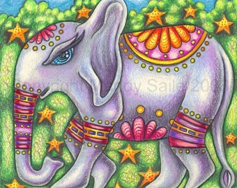 "Bodhi The Elephant - an 8x 10"" ART PRINT for lovers of whimsy of a whimsical decorative elephant inspired by spring colours and Indias vibe"
