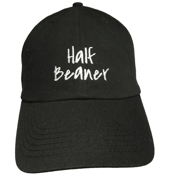 Half Beaner - Polo Style Ball Cap (Black with White Stitching)