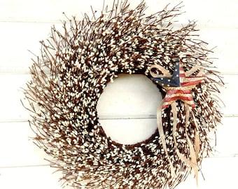 Summer Wreath-Patriotic Wreath-USA Decor-4th of July Door Wreath-Military Wreath-Primitive Star Wreath-Scented Wreath-Twig Wreath-Gifts