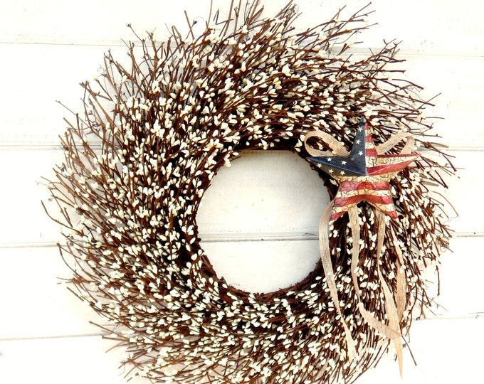 Featured listing image: Summer Wreath-Patriotic Wreath-USA Decor-4th of July Door Wreath-Military Wreath-Primitive Star Wreath-Scented Wreath-Twig Wreath-Gifts