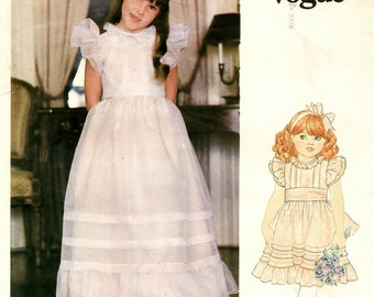 """A Ruffled Long or Below Knee Length, Ruffled, Back Buttoned, Waistline Sash Dress Pattern: Childrens Size 4, Breast 23"""" • Little Vogue 2898"""
