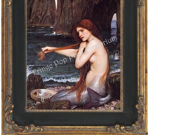 Edwardian Mermaid Art Print 8 x 10 - Fine Art - Nymph on Shore