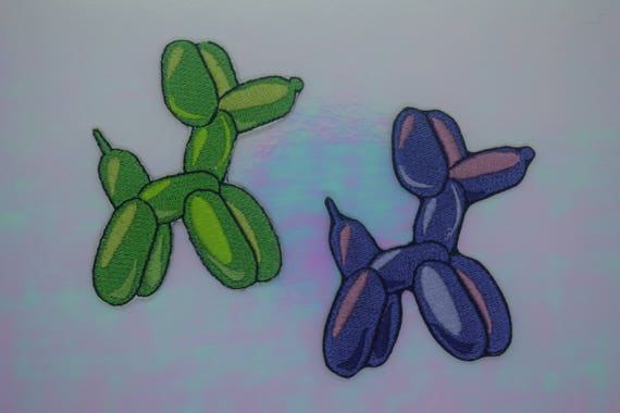 Green and Purple Balloon Animals Iron on Patch Set