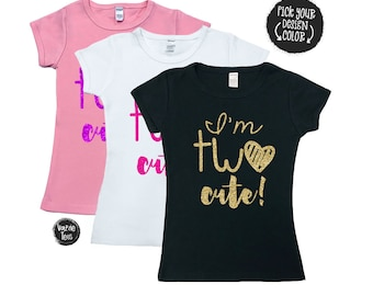 I'm TWO Cute Shirt - Two Cute - 2nd Birthday Shirt - SHIRT Only - Trendy Birthday - Toddler Girl Birthday Shirt - 2 year old - Two