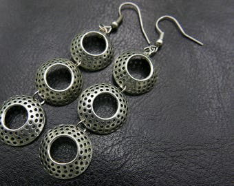 Three rounds Earrings stainless steel