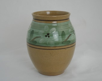 Stoneware vase by Holkham. Brown stoneware  vase with wave pattern in a striking green band by Holkham Pottery, Norfolk. Vintage home decor