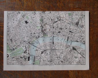 1880 Antique map of London