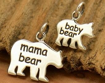Sterling Silver, Mama Bear, Baby Bear, Bear Charm, Word Charm, Etched Bear Charm, Silver Bear Charm, Mama Bear Charm, Baby Bear Charm