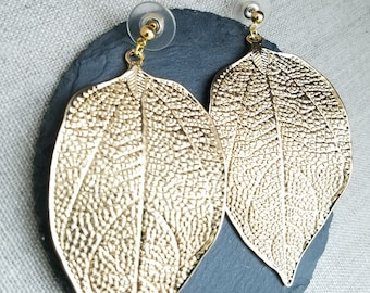 Large Gold Leaf Earrings, Gold Plated Leaves Earrings, Nature Earrings, Leaf Jewelry, Nature Botanical Jewelry, Handmade Jewelry