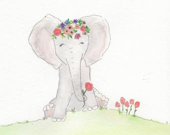 Elephant watercolor, elephant art, baby elephant,  nursery wall art, watercolor flowers, girl nursery art, watercolor elephant,