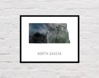 North Dakota Map Print, North Dakota Art Print, North Dakota Printable Wall Art, Watercolor Map, North Dakota Poster, North Dakota State Map