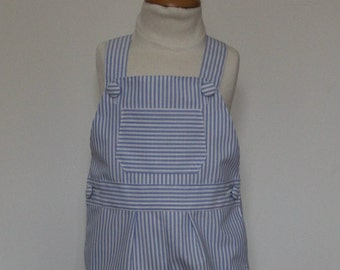 Blue striped canvas T 18 month overalls