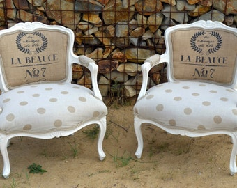 Vintage Accent Arm Chair French Style with Polka Dots and Burlap Upholstered