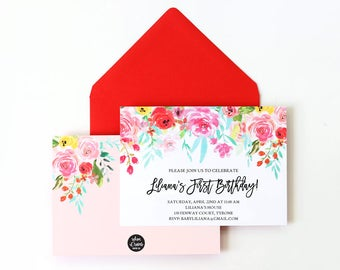 Floral First Birthday Invitations Watercolor Girls 1st Birthday Party Invite Personalized Printed Invitation with Flowers Red and Pink Boho