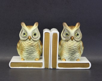 Vintage Woodland Owl Bookends (E7606)