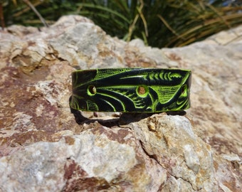 upcycled leather cuff/green floral cuff/womans leather cuff bracelet/mens leather cuff/leather jewelry/tooled flower cuff/leather band/C11