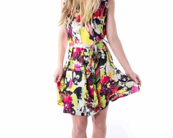 Summer Silk Dress- small -sleeveless- floral print- belted waist hand made