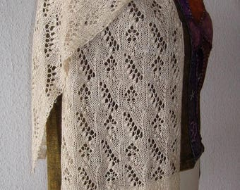 Hand knitted handspun lace shawl, lace scarf, lilly of the valley, silk, baby camel down, traditional, estonian lace, wedding shawl