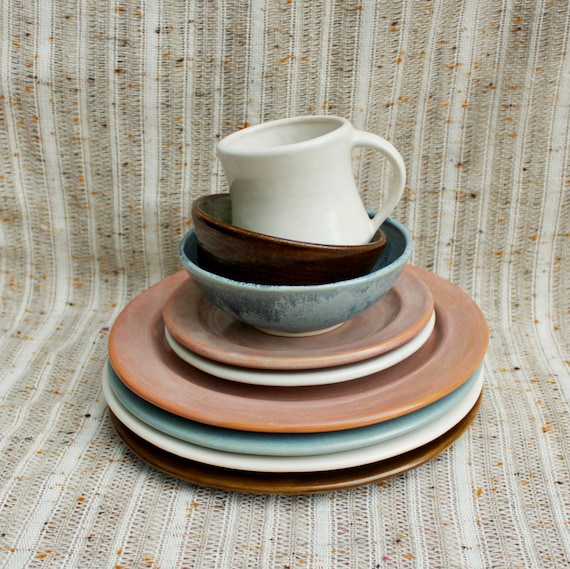 Mix and Match Plates Bowls or Mugs-Inidual Dinnerware Pieces-Handmade Stoneware Pottery & Mix and Match: Plates Bowls or Mugs-Inidual Dinnerware