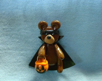 Halloween Bear Pin in Polymer Clay