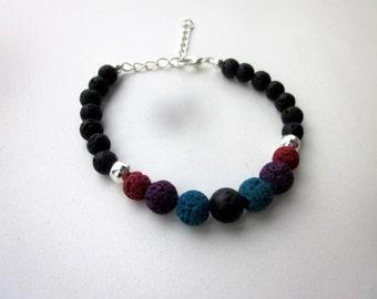 Multi-Colored Lava Rock Bracelet