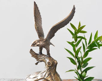 "Vintage Brass Eagle Figurine - large 12.5"" flying bird with outspread wings on a branch 5.5 pounds - bird of pray statuette"