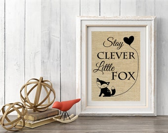 Stay Clever Nursery Decor, Baby Fox Decoration, Fox Wall Art, Fox Nursery Decor, Baby Fox, Woodland Decor SBP016