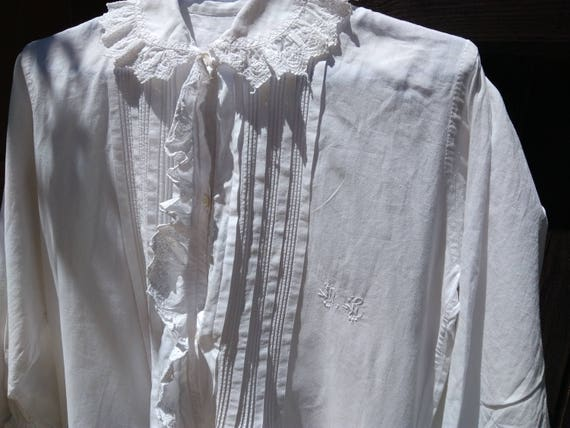 Long Victorian White Cotton Nightgown French Handmade Monogram Ruffled Eyelet Lace Front Buttoned Long Sleeve Large #sophieladydeparis