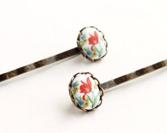 Tulip Cameo Hair Pins Red Tulip Flower Bobby Pins Vintage Floral Cameo Tulip Hairpins Cute Victorian Accessories Gift For Girlfriends