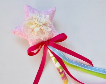 Pink Princess Fairy Wand - Ballet Princess Wand - Girl's Fairy Wand - Fairy Wand Baby Photo Prop - Nursery Decor Gift - Fabric Fairy Wand