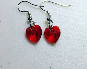 Heart Swarovski earrings