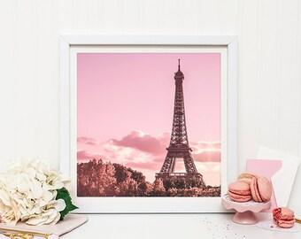 Paris Photography Print, Eiffel Tower Photo, Paris Wall Art, Pink Paris Print