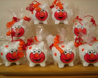 Personalized Elmo party favor piggy banks- Sesame Street- First Birthdays, Communions, Baby Showers, Christenings