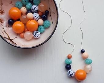 new day necklace - vintage lucite - autumn colors - chevron - orange, mint, navy