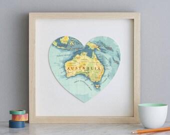Australia Map Heart Print - framed art map print of Australia - australia map art - travel map - anniversary gift - heart map - custom map