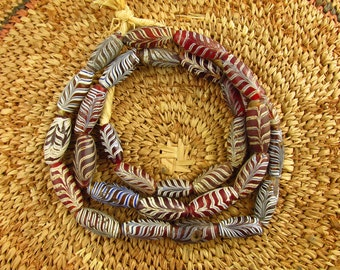 Antique Ruby Red Venetian Feather Glass Trade Beads