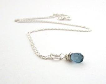 London blue topaz necklace, December birthstone,  small london blue topaz pendant, sterling silver wire wrapped necklace, blue topaz jewelry