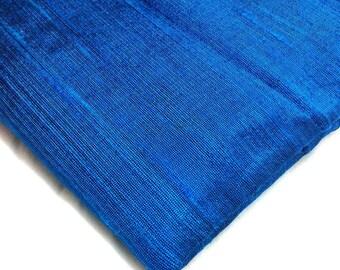 Royal Blue Raw Silk- Indian Silk Fabric - Pure Silk Dupioni - Raw Mulberry Silk  - Indian Dupioni Silk  by  Yard