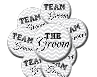 8 Team Groom Buttons - Groom Bachelor Party Buttons - Bachelor Party - Team Groom - Chevron Groom - Groomsmen Buttons - Groom Button