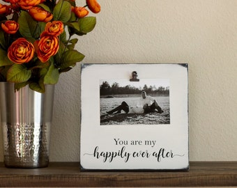 Rustic Picture Frame - Happily Ever After – Wood Picture Frame – Distressed Picture Frame - Newlywed Gift - Wedding Gift Picture Frame