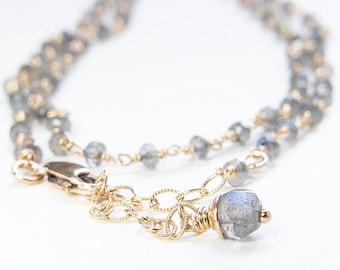 Labradorite Strand Necklace. Long Strand. Argentium Wire Wrap Strand. Eco Friendly Silver
