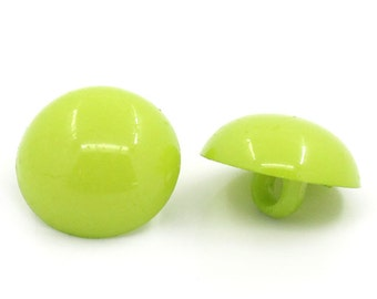 Acrylic Green Round Shank Buttons - (20)