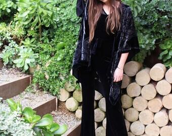 Boho Kimono Cardigan - Boho Velvet Kimono - Short Kimono Robe - Velvet Poncho - Kimono Jacket Black - Kimono Jacket Plus Size - Gift For Her