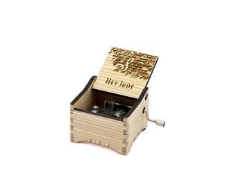 Hey Jude - Personalised / Engraved Hand Crank Wooden Music box