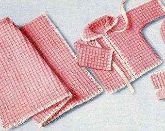 Instant Download - INFANT'S LAYETTE Crochet Pattern - Blanket, Sweater, Bonnet , Bootees - Vintage Digital Download Pdf Kenyon 0034