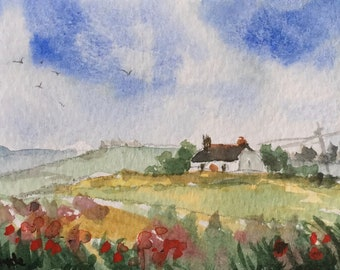 Landscape ORIGINAL Miniature Watercolour Peaceful Cottage and Poppies ACEO  For him, For her, Home Decor, Wall Art, Gift Idea, Free Shipping