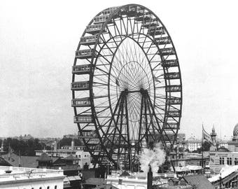 "1893 Ferris Wheel Chicago World's Fair Vintage Photograph 11"" x 17"" Reprint"