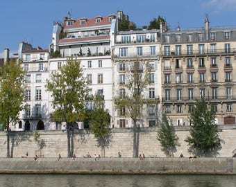Paris photography, wall print, France, Houses on Isle St Louis, River Seine, colour print, black and white print, central Paris