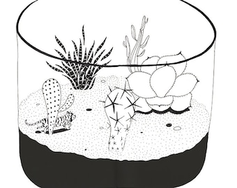 Print black and white wall art Mini terrarium illustration botanical A4 / A5 glass terrarium Art prints cactus terrarium cacti succulent