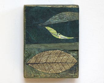 Mixed media art on small reclaimed wood block, abstract collage with leaf, handmade modern zen home decor